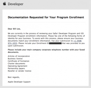 Apple Dev Program company paperwork request