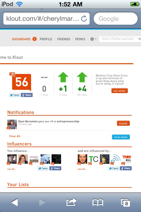 Cheryl Marquez's Klout is 56 on July 7