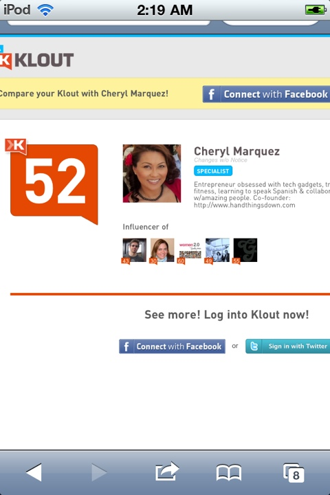 Cheryl Marquez's Klout score is 52 after disconnecting Facebook & Linkedin on July 7.